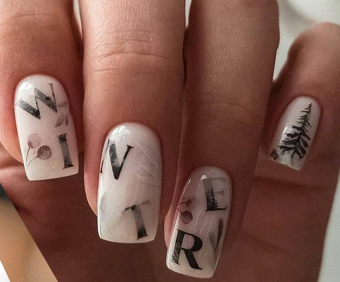 буквы на ногтях 2022 фото маникюра с надписями