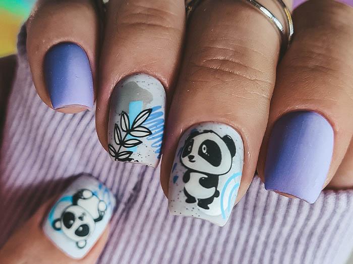 панда на ногтях сизый оттенок 2022